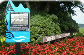 Image of Campbell River Heritage Sign at Foreshore Park